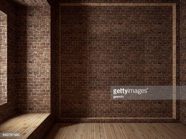 empty room, 3d render - brick wall stock pictures, royalty-free photos & images