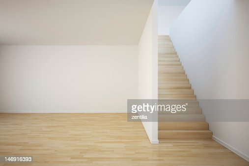 Empty Room And Stairs With White Walls And Pale Wood Floor Stock