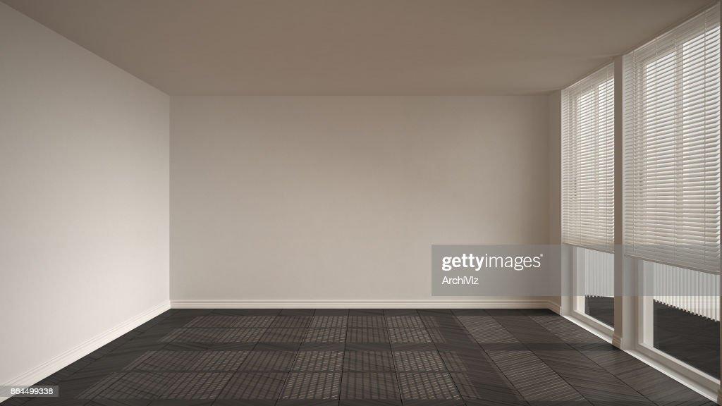 Lege ruimte met groot panoramisch raam witte muren en grijze