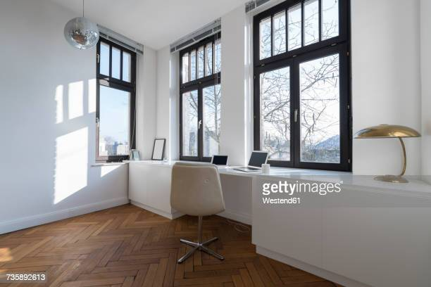 Empty Room With Chair And Large Panorama Window Stock Photo