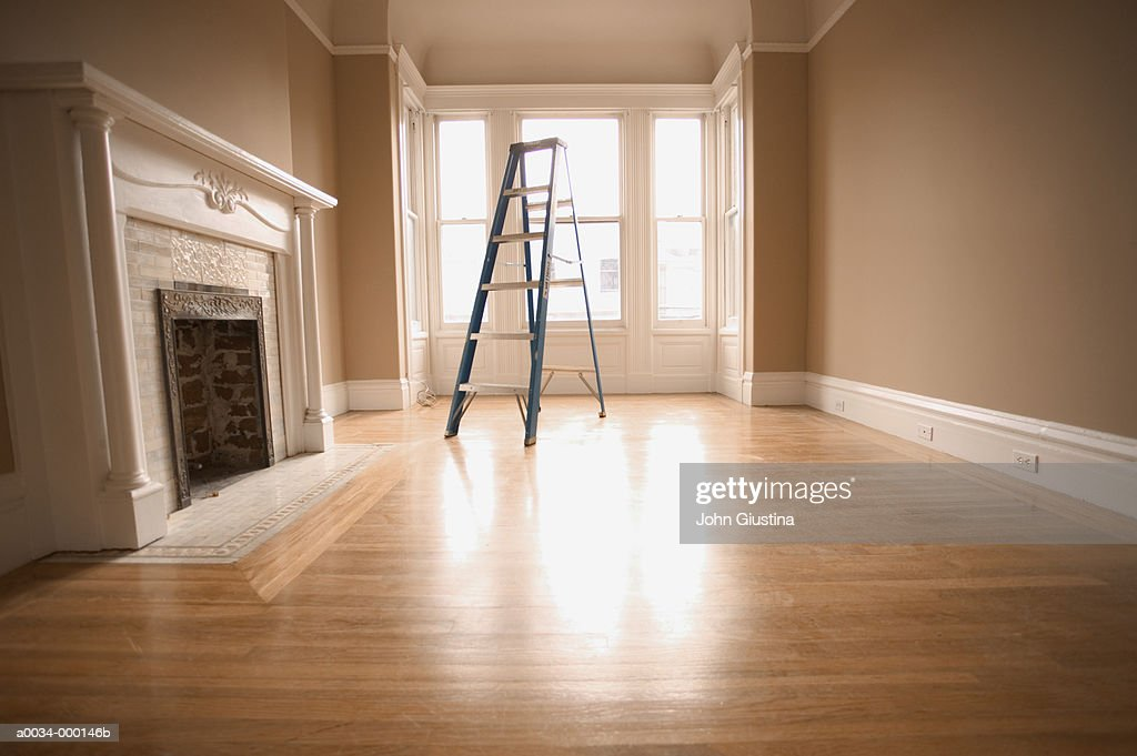 Empty Room with Ladder : Stock Photo