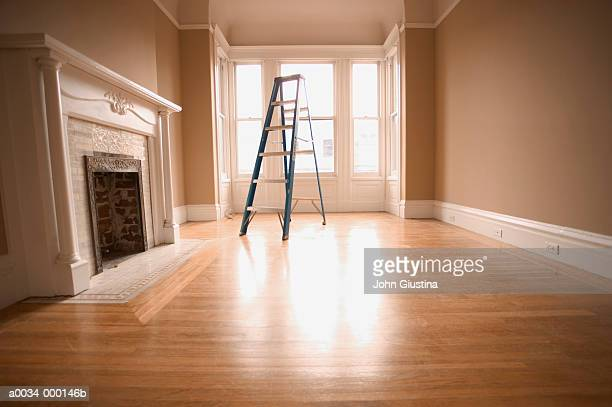 empty room with ladder - floorboard stock photos and pictures