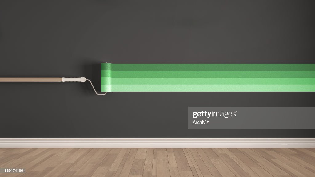 Empty Room With Paint Roller And Painted Wall Wooden Floor Gray Green Minimalist