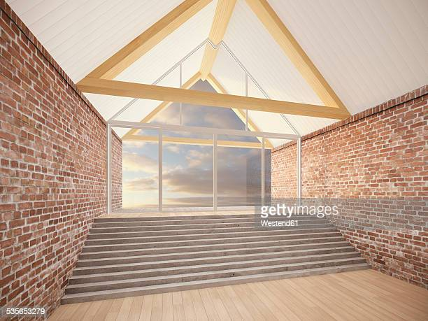 Empty room with roof beams, stair and brick walls, 3D Rendering