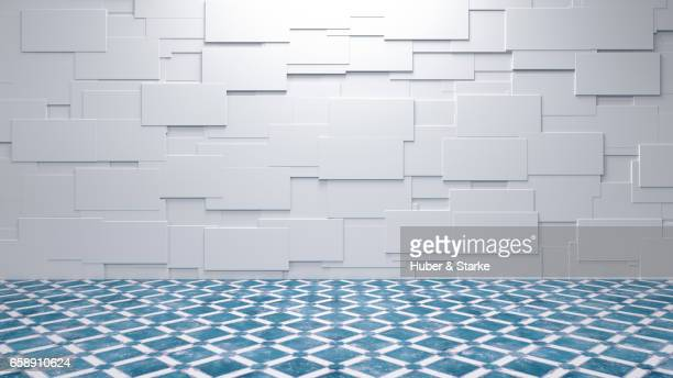 empty room with structured wall and old fashioned tiles