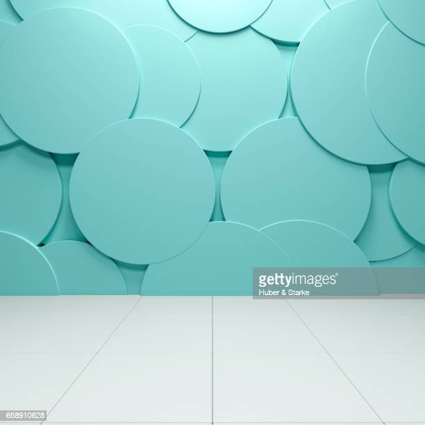 empty room with structured wall and white tiles