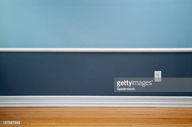 empty room with wall plug - wainscoting stock photos and pictures
