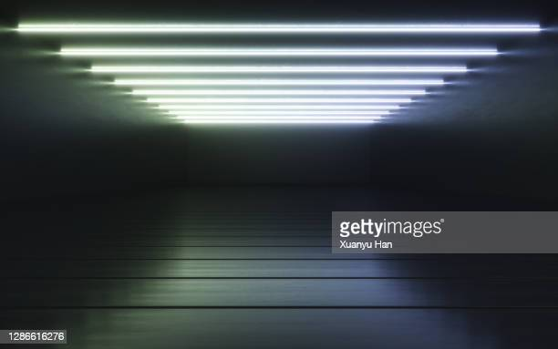 empty rooms with led lights - dark stock pictures, royalty-free photos & images