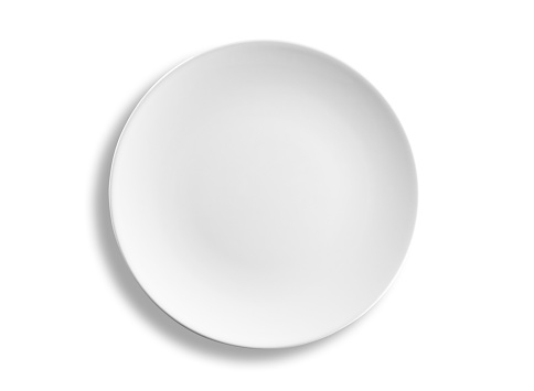 Empty round dinner plate isolated on white background, clipping path 184933994