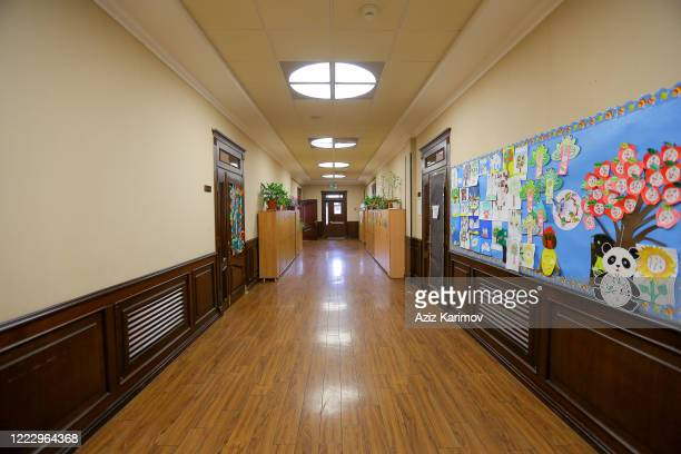 Empty school corridor classroom in SchoolLyceum N6 on May 5 2020 in Baku Azerbaijan The Azerbaijan schools resumed classes in online format due to...