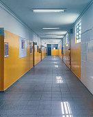 an empty corridor brazilian school with