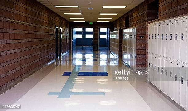 empty school hallway - corridor stock pictures, royalty-free photos & images