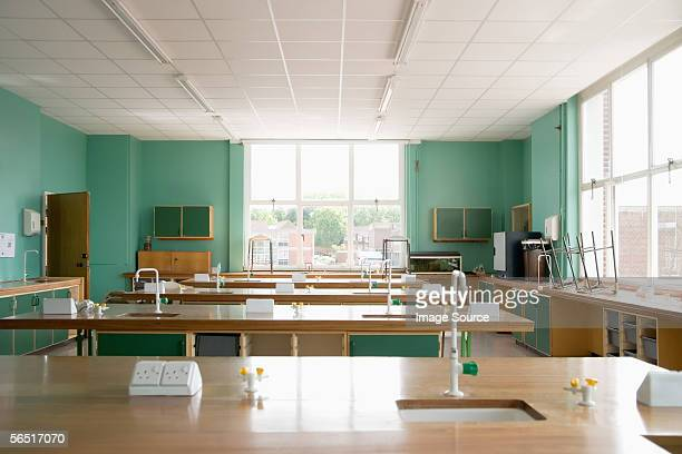empty science classroom - classroom stock photos and pictures