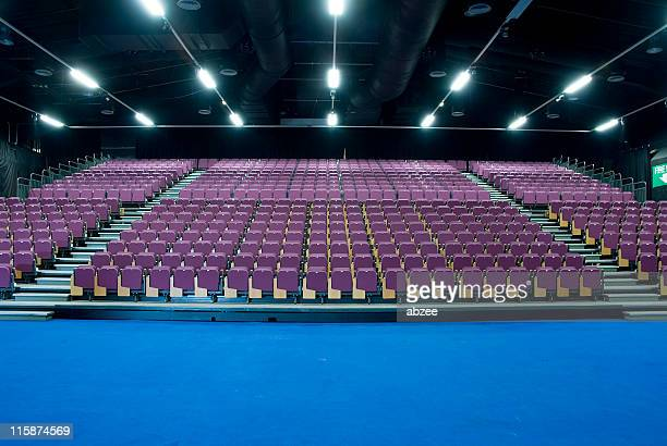 Empty seating at an exhibition centre