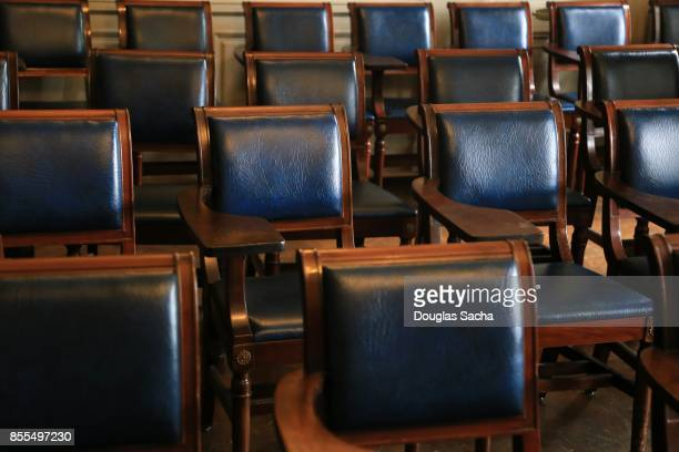 Empty seating in a lecture hall