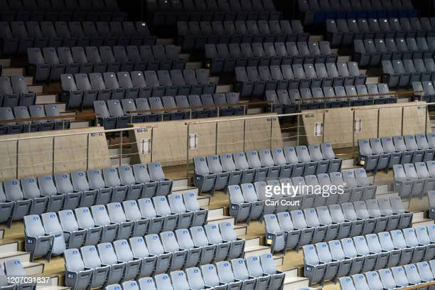 Empty seats are pictured at a Kawasaki Brave Thunders and Levanga Hokkaido Japanese B.League basketball match that has been held behind closed doors...