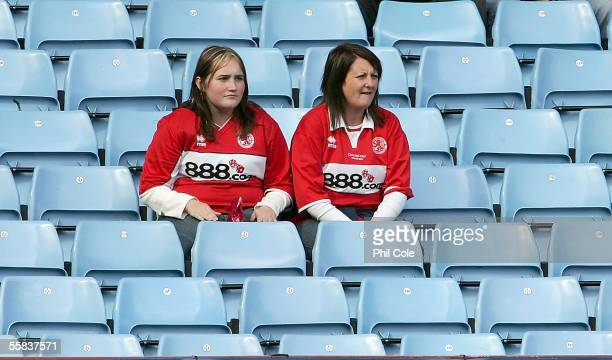 Empty seats are seen during the Barclays Premiership match between Aston Villa and Middlesbrough at Villa Park on October 2 2005 in Birmingham England