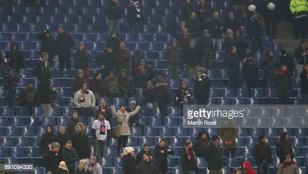 Empty seats are seen during the Bundesliga match between Hamburger SV and Eintracht Frankfurt at Volksparkstadion on December 12 2017 in Hamburg...