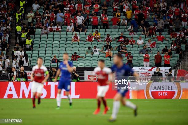 Empty seats are seen in the Arsenal section of the stadium during the UEFA Europa League Final between Chelsea and Arsenal at Baku Olimpiya Stadionu...