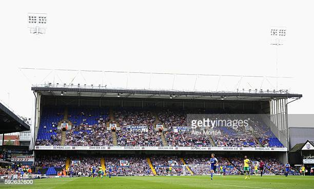 Empty seats are seen in the Sir Alf Ramsey stand during the Sky Bet Championship match between Ipswich Town and Norwich City at Portman Road on...
