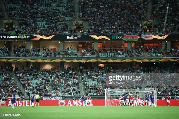 Empty seats are seen in the stadium during the UEFA Europa League Final between Chelsea and Arsenal at Baku Olimpiya Stadionu on May 29, 2019 in...