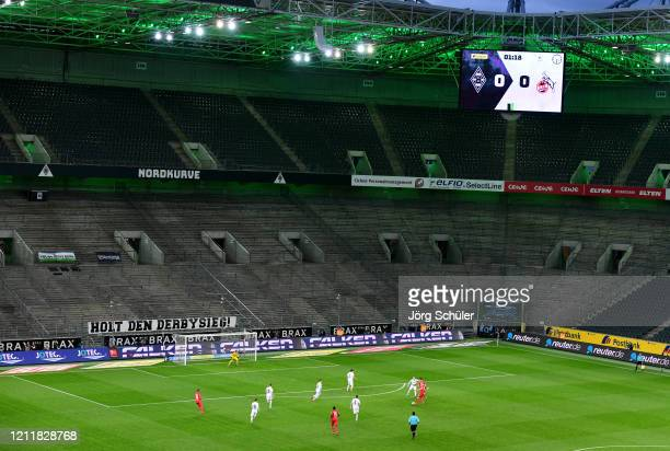 Empty seats are seen inside the stadium during the Bundesliga match between Borussia Moenchengladbach and 1. FC Koeln at Borussia-Park on March 11,...