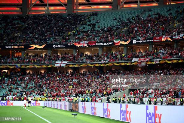 Empty seats are seen inside the stadium during the UEFA Europa League Final between Chelsea and Arsenal at Baku Olimpiya Stadionu on May 29 2019 in...
