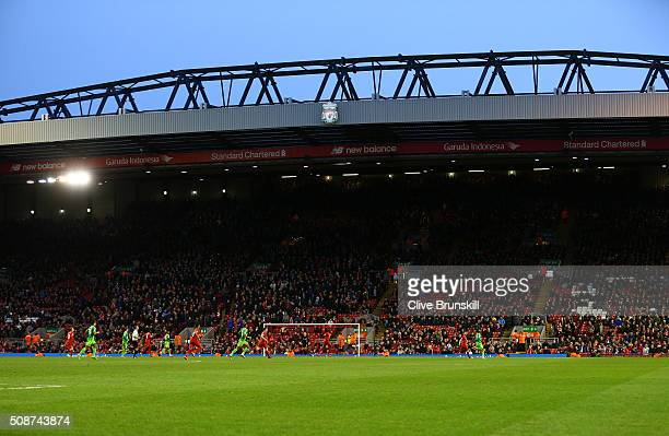 Empty seats are seen on the stand after some Liverpool supporters walked out to protest against the ticket price hike at the 77th minutes during the...