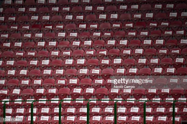 Empty seats are seen prior to the Serie A football match between AC Milan and AS Roma The match ended 33 tie