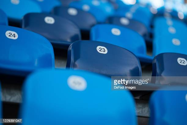 Empty seats are seen sitting on an empty grandstand prior to the 3. Liga match between SV Waldhof Mannheim and 1. FC Magdeburg at Carl-Benz-Stadium...