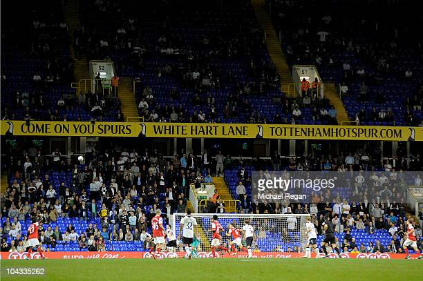 Empty seats as Spurs fans leave the ground before the end of extra time as their team heads towards a 41 defeat during the Carling Cup third round...