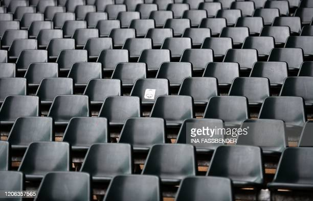 Empty seats at BorussiaPark football stadium are pictured on March 10 2020 in Mönchengladbach Rhine Bundesliga derby between Borussia...