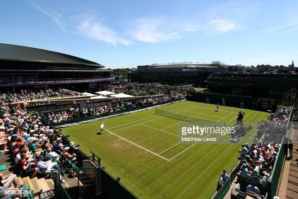 Empty seats can be seen in the stands on Court 18 during the Men's Singles first round match between Lucas Pouille of France and Denis Kudla of The...