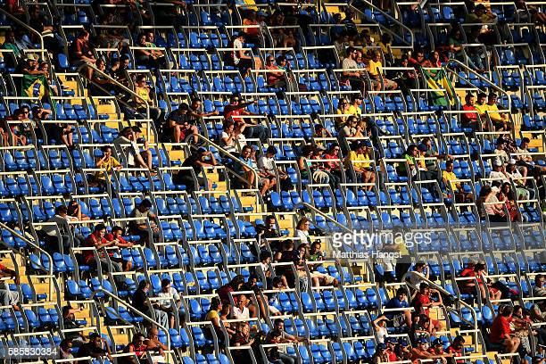 Empty seats during the Men's Group D first round match between Honduras and Algeria during the Rio 2016 Olympic Games at the Olympic Stadium on...
