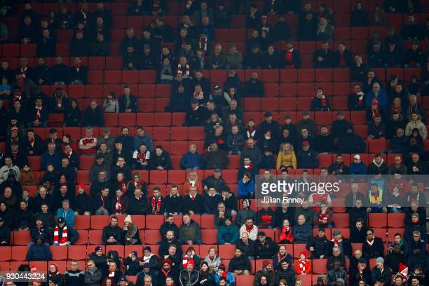 Empty seats during the Premier League match between Arsenal and Watford at Emirates Stadium on March 11 2018 in London England