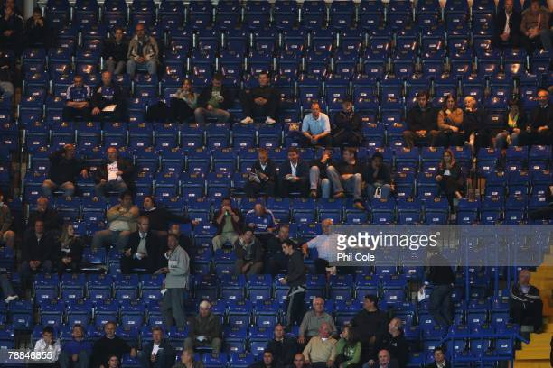 Empty seats during the UEFA Champions League Group B match between Chelsea and Rosenborg at Stamford Bridge on September 18 2007 in London England