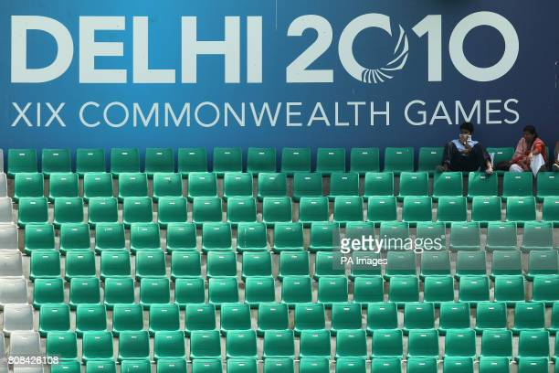 Empty seats for the hockey preliminary round match between Pakistan and Scotland during Day Two of the 2010 Commonwealth Games at the Major Dhyan...