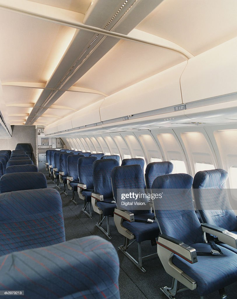 Empty Seats in a Plane Cabin : Stock Photo