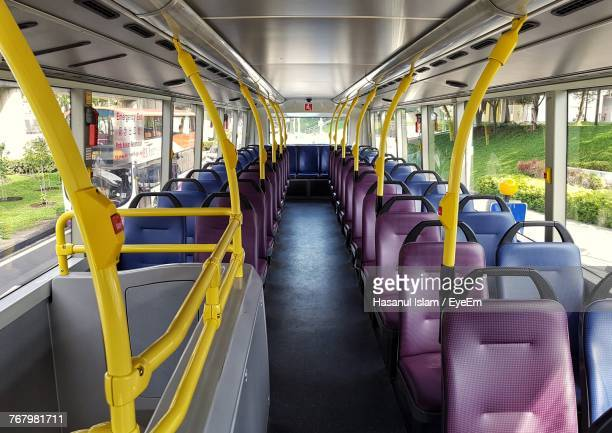 empty seats in bus - vehicle interior stock pictures, royalty-free photos & images