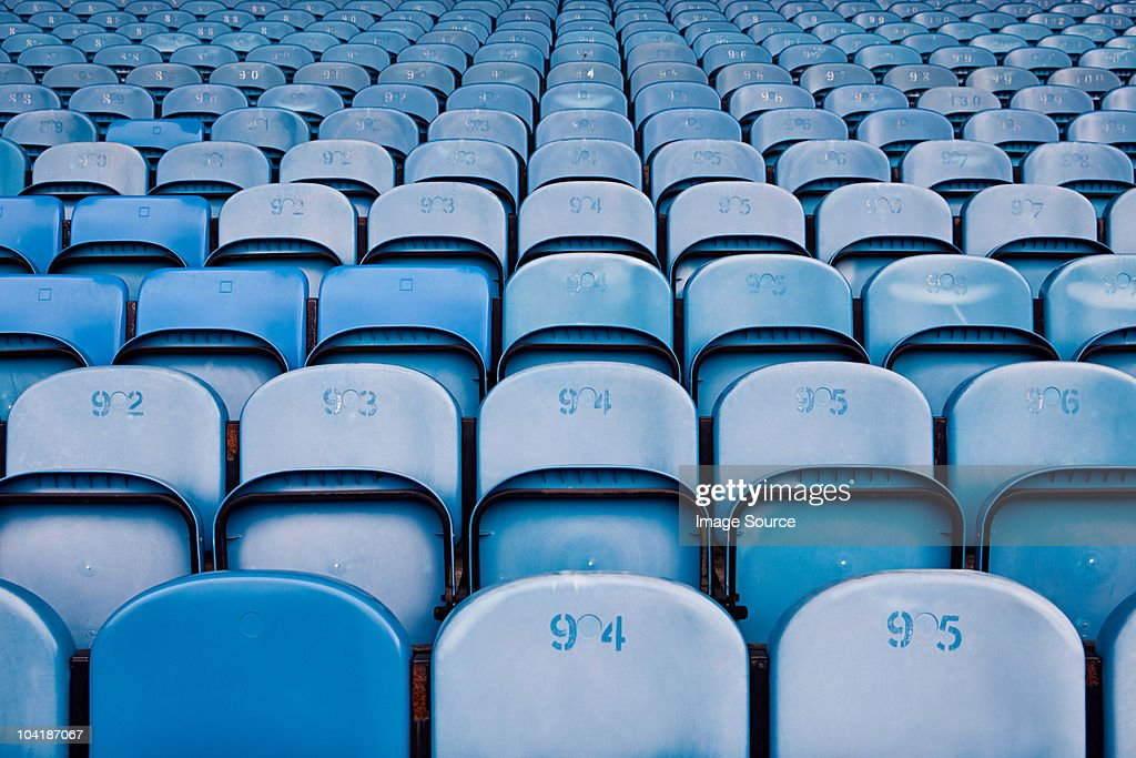 Empty seats in football stadium : Stock Photo