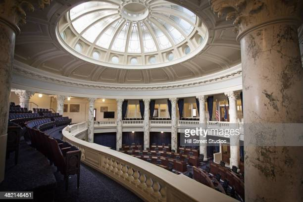 empty seats in government chamber - local government building stock pictures, royalty-free photos & images