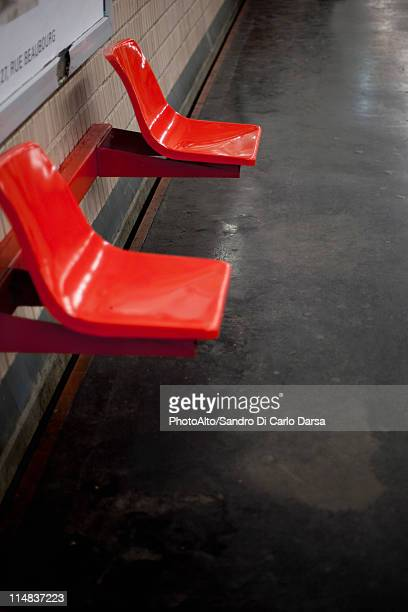 Empty seats in subway station