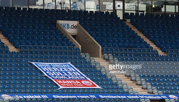 Empty seats in the arena are pictured prior to the Second Bundesliga match between FC Hansa Rostock and SG Dynamo Dresden at DKB Arena on December...