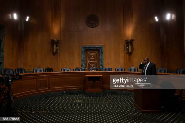 Empty seats in the Senate Finance Committee hearing room on Capitol Hill in Washington DC January 31 after Senate democrats boycotted the markup...