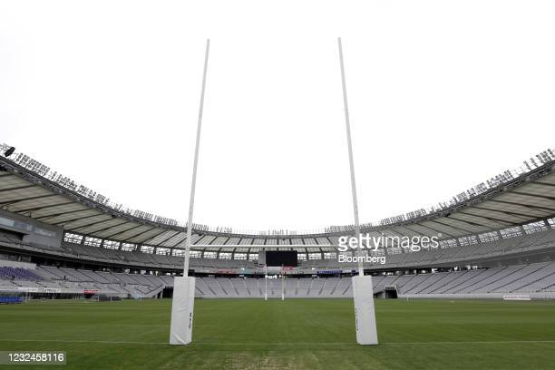 Empty seats in the spectator stands surround the pitch prior to an operational test match for the Rugby Sevens event of the now-postponed Tokyo 2020...