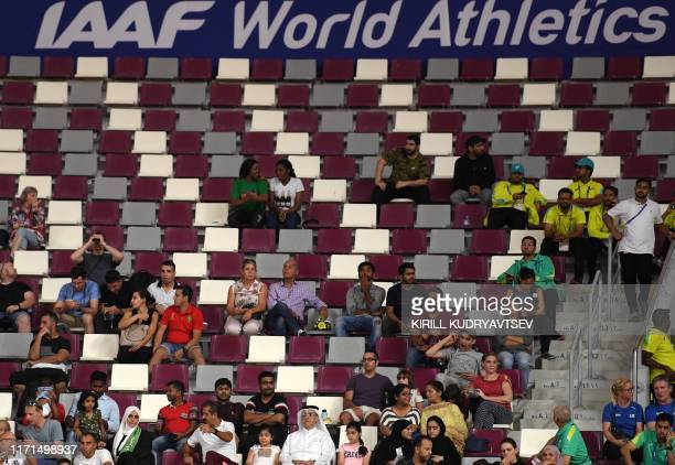 Empty seats in the stadium as spectators watch the Women's 3000m steeplechase heats at the 2019 IAAF World Athletics Championships at the Khalifa...