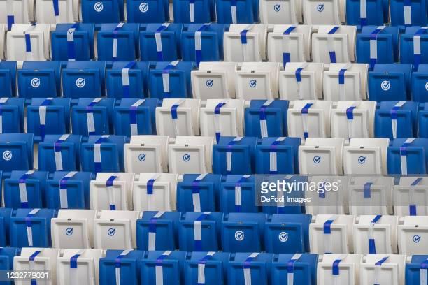 Empty seats in the stadium during the Bundesliga match between TSG Hoffenheim and FC Schalke 04 at PreZero-Arena on May 8, 2021 in Sinsheim, Germany....