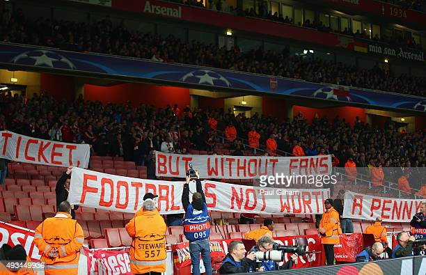 Empty seats in the stand as Bayern Munich fans protest against ticket prices prior the UEFA Champions League Group F match between Arsenal FC and FC...
