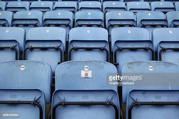 Empty seats in the stand prior to the Barclays Premier League match between Leicester City and Sunderland at The King Power Stadium on November 22...