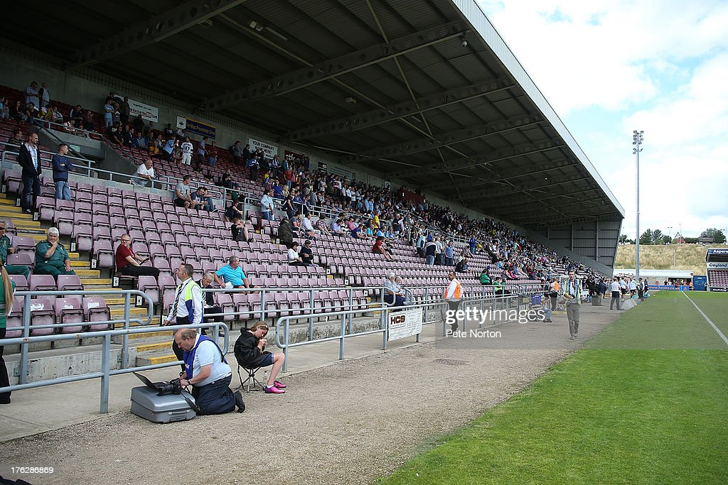 Empty seats in the West Stand as an attendance of 2,204 watch during the Sky Bet League One match between Coventry City and Bristol City at Sixfields Stadium on August 11, 2013 in Northampton, England.